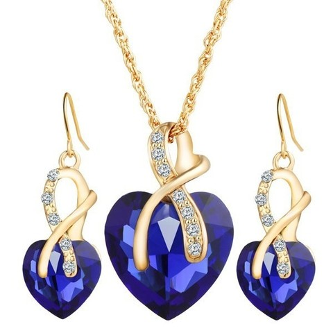 A Suit of Faux Crystal Rhinestone Heart Wedding Jewelry Set