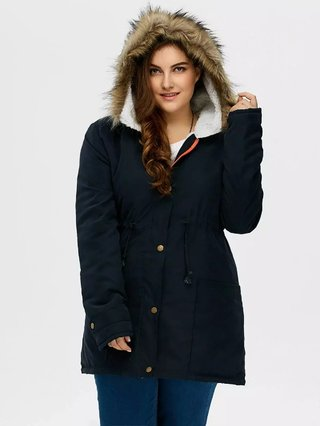 Drawstring Plus Size Parka Coat