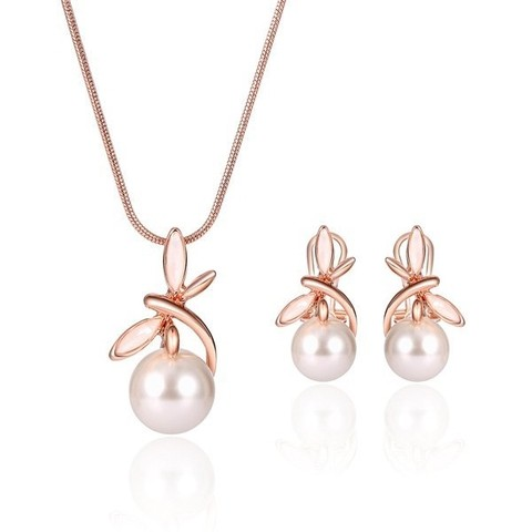 Faux Pearl Dragonfly Pendant Necklace and Earrings
