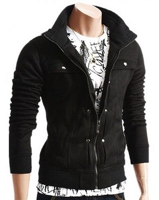 Slimming Trendy Turndown Collar Pocket and Button Design Long Sleeve Polyester Sweatshirt For Men