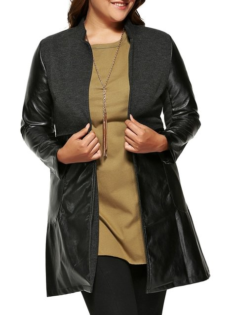 Plus Size Wool Faux Leather Splicing Coat