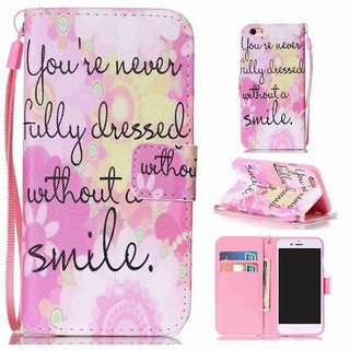 Flip Wallet Smile Quote PU Leather Cover Case For iPhone 6Plus