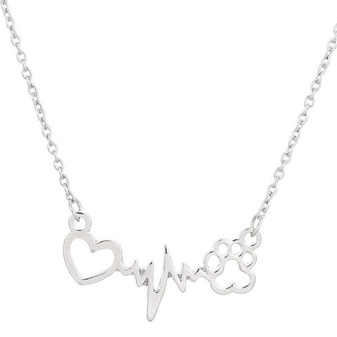 Hollow Out Heart Lightning Paw Necklace
