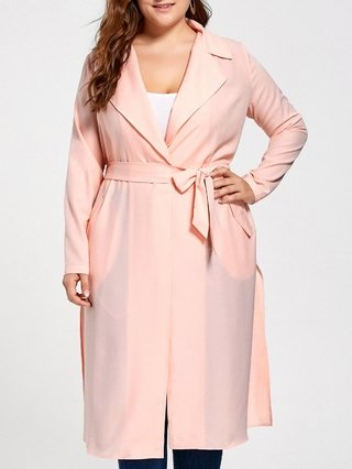 Plus Size Tie Belt Trench Coat
