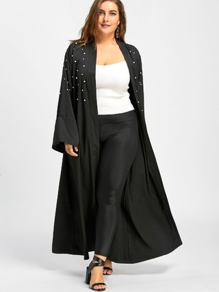 Plus Size Beaded Long Maxi Coat