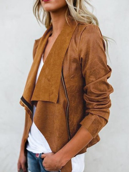 Khaki Long Sleeves Irregular hem Jacket