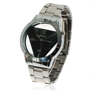Chic Bariho A112 Hollow Triangle Shaped Black Dial Stainless Steel Quartz Watch for Men (Black)