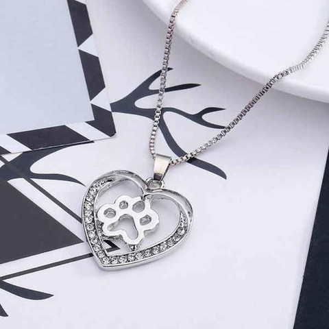 Hollow Out Dog Paw Heart Pendant Necklace
