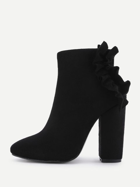 Flounce Back Block Heeled Ankle Boots