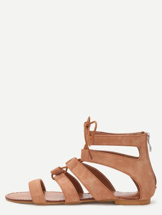 Peep Toe Caged Cut Out Gladiator Sandals