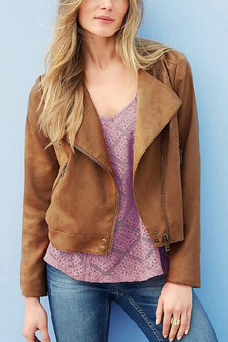 Khaki Zipper Front Biker Jacket with Back Tassel Detail