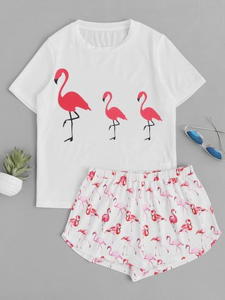 Allover Flamingo Print Top With Shorts Pajama Set