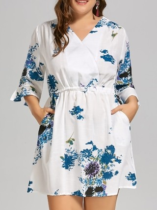 Plus Size Ink Painting Linen Dress with Flare Sleeves