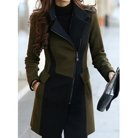 Stylish Turn-Down Collar Color Block Worsted Long Sleeve Coat For Women