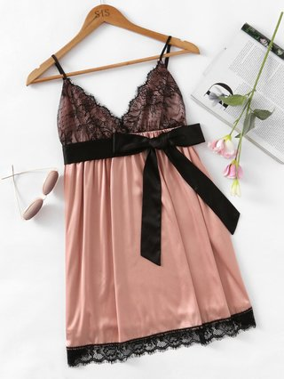 Eyelash Lace Detail Bow Waist Nightdress