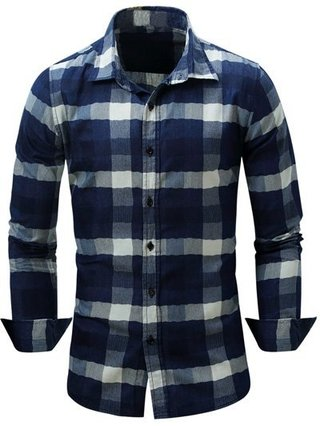 Turn-Down Collar Long Sleeve Color Block Checked Shirt