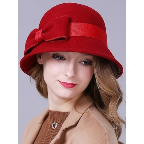 Big Bowknot Band 1920s Felt Cloche Hat - Red