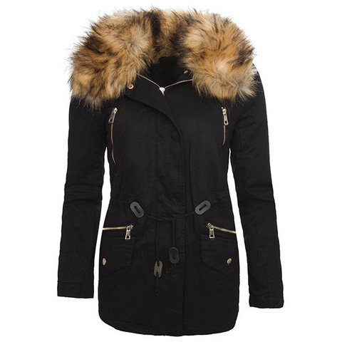 Stylish Turn-Down Collar Long Sleeve Faux Fur Design Drawstring Women's Coat