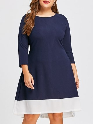 Plus Size Contrast High Low Long Sleeve Dress