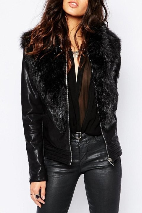 Large Faux Fur Collar Women's Blank NYC Jacket