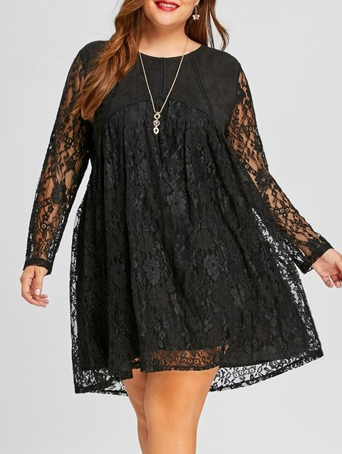 Long Sleeve Plus Size Lace Shift Dress