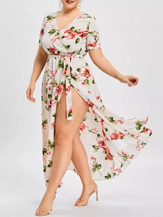 Plus Size Maxi Surplice Dress with Flower Print