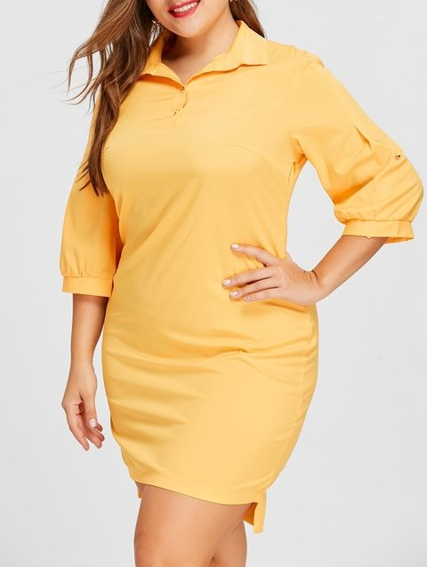 Plus Size Lantern Sleeve Shirt Dress