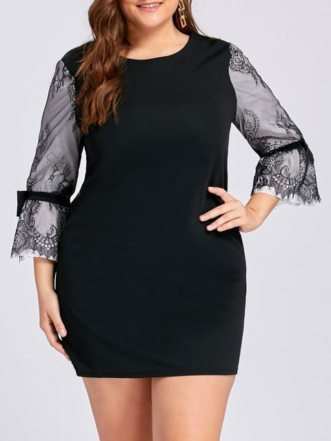 Plus Size Lace Panel Bell Sleeve Mini Dress