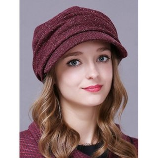Outdoor Casual Pleated Relaxed Fit Newsboy Cap - Claret