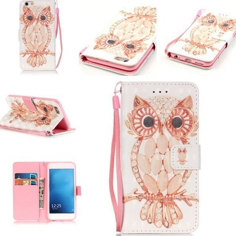 Owl Pattern PU Leather Phone Case For iPhone 6S Plus