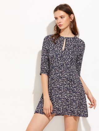 Calico Print Keyhole Front Swing Dress