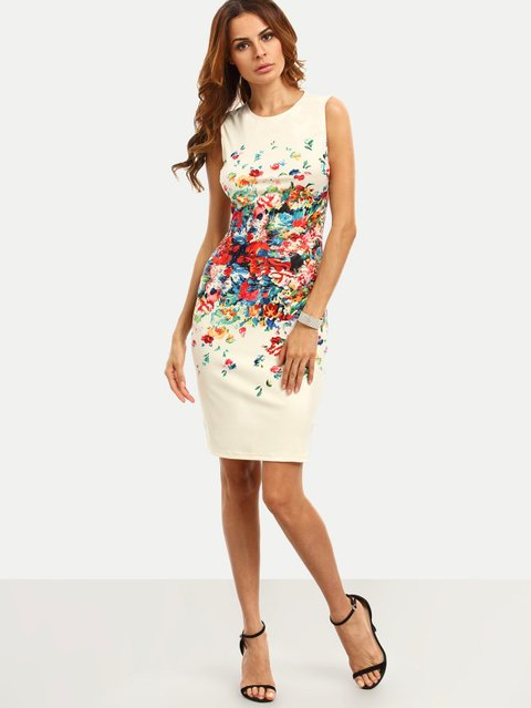 Colorful Calico Print Fitted Dress
