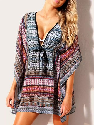 Plunging Neck Print Cover Up Dress