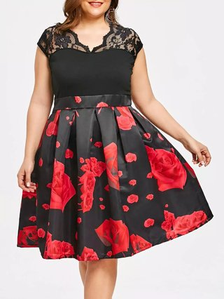 High Waisted Plus Size Roses Dress