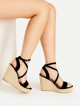 Cross Strap Espadrille Wedges