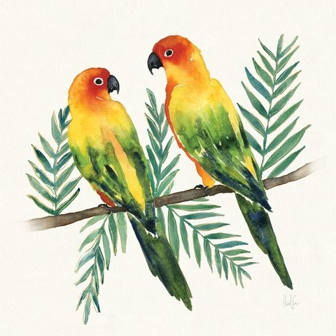 Tropical Fun Bird III (Leafy Branch) -Harriet Sussman - comprar online