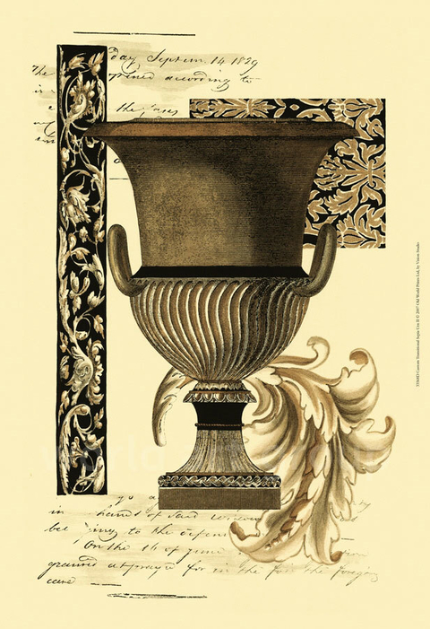 Custom Transitional Sepia Urn II - Vision Studio