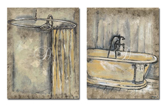2 Gravuras - Antique Bath I e II - Ruth Bush - comprar online