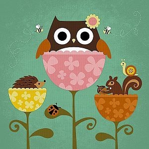 Owl, Squirrel and Hedgehog in Flowers - Nancy Lee - comprar online