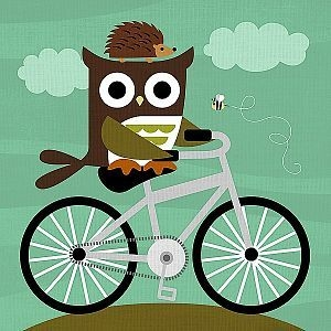Owl and Hedgehog on Bicycle - Nancy Lee na internet