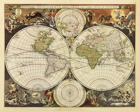 NEW WORLD MAP, 17TH CENTURY - comprar online