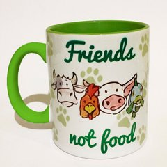 Caneca Friends Not Food - Alça e Interior Verde na internet