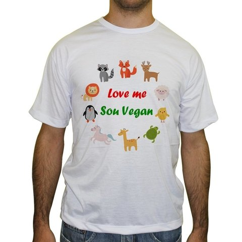 Camiseta Gola Careca Love me Sou Vegan