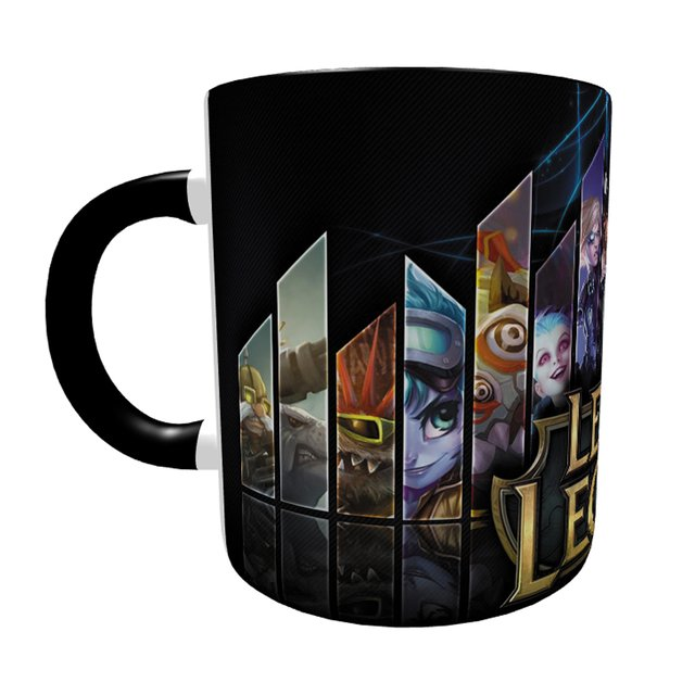 Caneca League Of Legends com Alça e Interior Preto - loja online