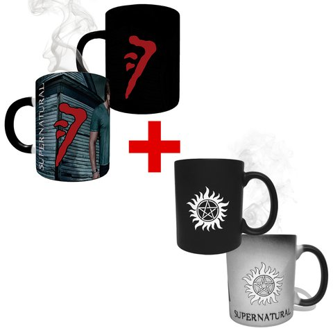 Kit Canecas Mágicas Supernatural Anti-Possessão + Caneca Mágica Marca de Caim
