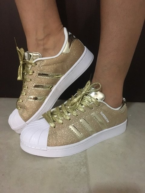 Zapatillas Adidas superstar con brillo nro 37