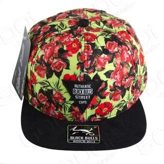 BONÉ ABA RETA BLACK BULLS - FLORAL - AUTHENTIC BLACK BULLS STREET CAPS