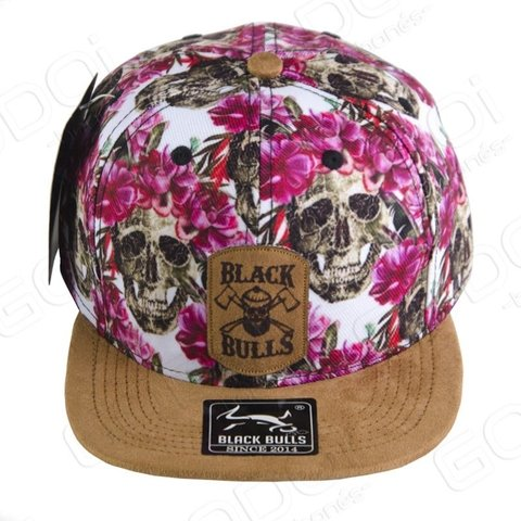 BONÉ ABA RETA BLACK BULLS - FLORAL CAVEIRA - MACHADOS DOUBLE AXLES