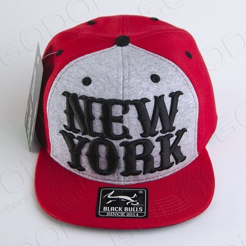 BONÉ ABA RETA BLACK BULLS NEW YORK RED