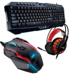 Kit Gamer Genius Gx Teclado K20 Auri 7.1 G680 Mouse Gila